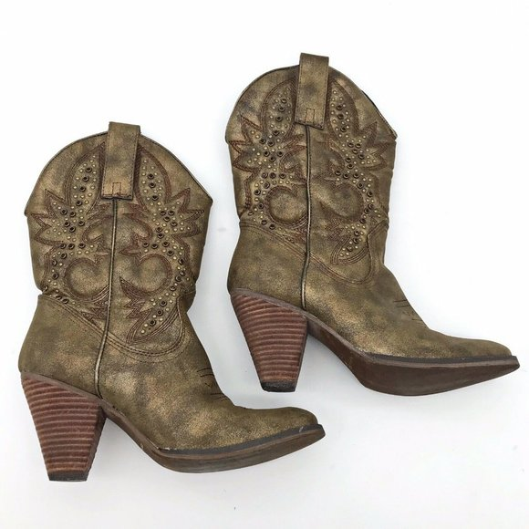 Very Volatile Gold Sheen Studded Western Boots 7